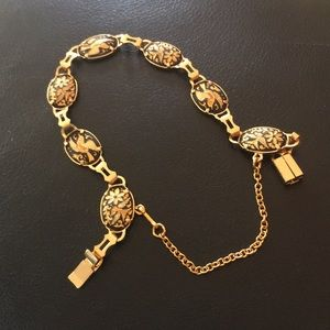 Demascene Bracelet 7.5 Gold 18k mourning Doves